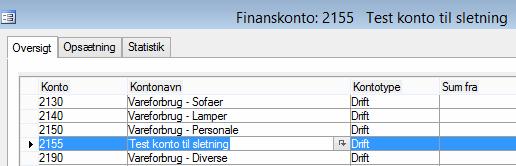 SletFinanskonto UdenPostering