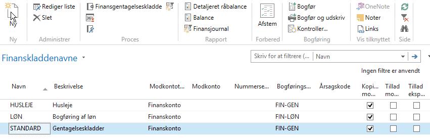 Finanskladdenavne - Gentagelseskladde