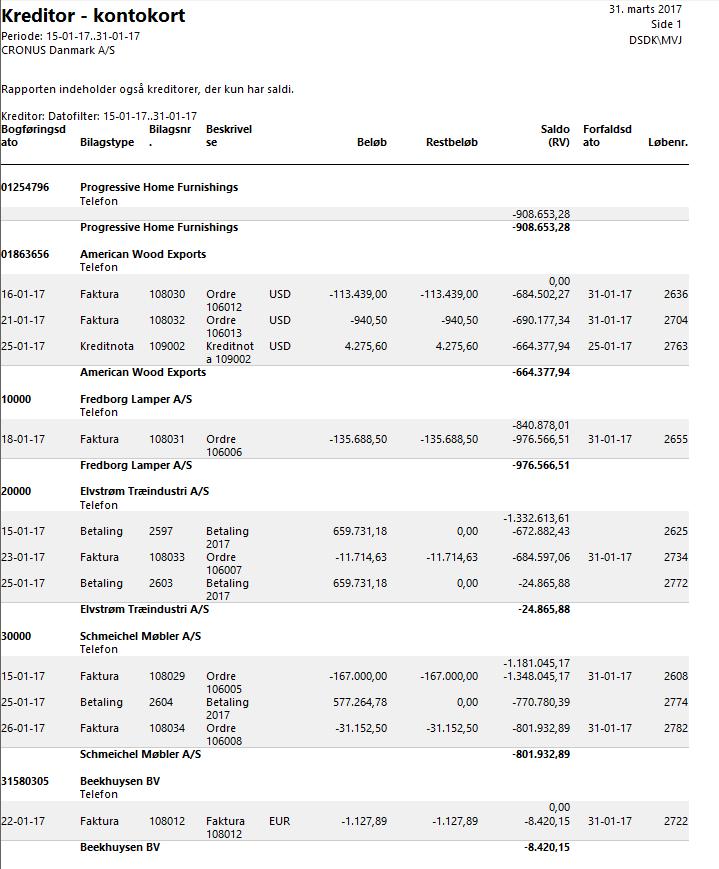 Udskriften - udskriv åbne kreditor fakturaer