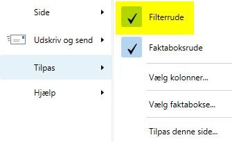 Indsæt filterrude - tilføj funktion til rollecenteret