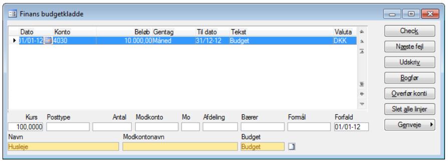 Finans budgetkladde - Budget C5